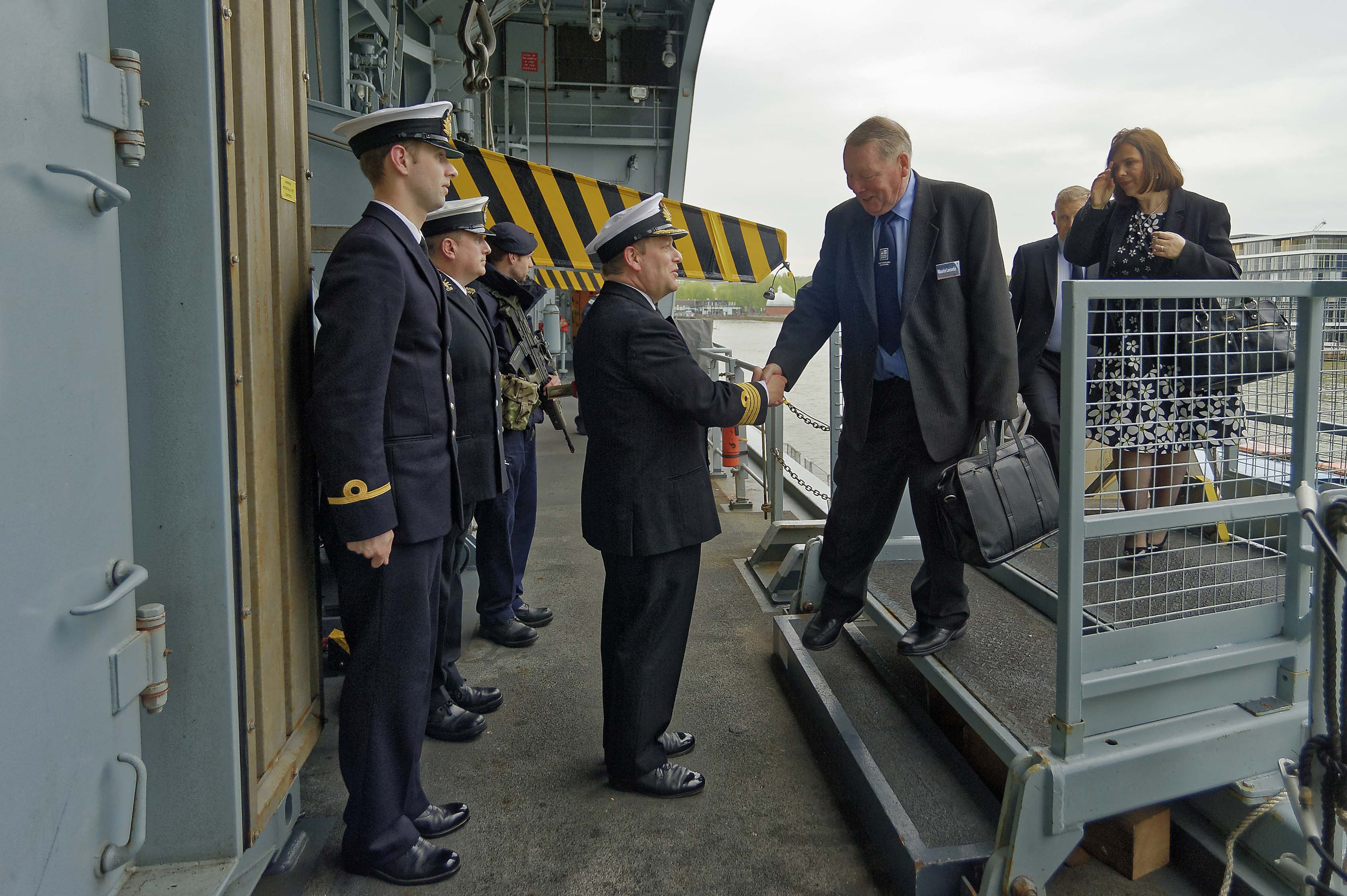 Lt. Cdr. (Retired) Maurice 'Jan' Larcombe boarding HMS Ocean
