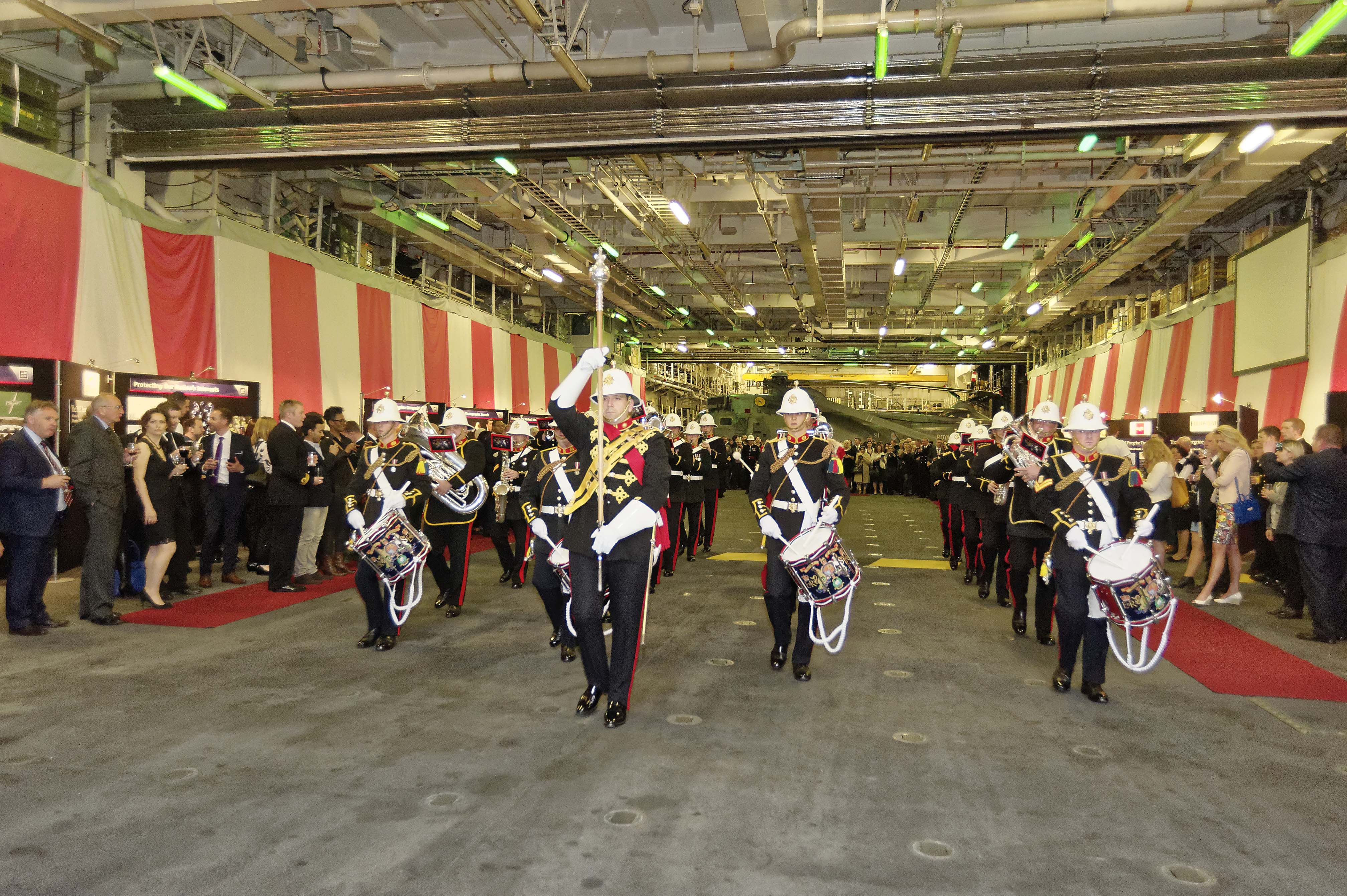 The Band of Her Majesty's Royal Marines on board HMS Ocean at the Peregrine Trophy Awards Ceremony