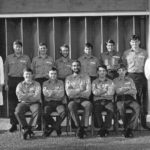 """2 Photographs (One below)  Course Group No 1 RN Course   Standing Ray Pringle-Scott RAF instructor, George """"Tab"""" Hunter, Ian   Hooper, John """"Nutty"""" Almond, Gordon  """"Flory"""" Ford, """"Adge """" Cutler, Phil """"Panda"""" Grest. Bob   Stanyard  Instructor. Sitting. Connie Constable (Did not Qualify), """"Fergie"""" Moore,   Chris """"Big Mac"""" McDermott,    Geoff   """"Dutchy"""" Holland , """"Jonah"""" Jones   (Did  not Qualify)"""