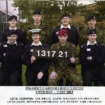 Photograph Course 1317 No 21   Back  MEM1  Griffiths D K<Army,  LS(EW)  Williams P J, Army    FRont.   LWTR  Jones R J  WOM(EW)1  Somerfield E L, Army,  AB(  R) Douglas B    (Ray Jones, Dave  Griffiths, Brian Douglas, Emma Somerfield, Bungy Williams)