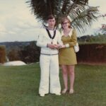 Photograph.  Tony  and Val Darbyshire a ll  dressed up for Pete & Maureen Grigsbys Wedding