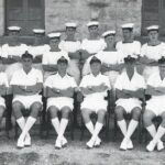 Photograph (Taken by Jan Morgan who had just arrived)     Back row - Johnny Sceats, Nigel Craft, Andy Anderson?, Curly Hawkes, Jan Morgan, Brian Cooper, Buster Brown,  Rusty Darker?, Blossom Hartle?, Frank Calder Front row - Ernie Earnshaw, Mike Thorne, Paul Johnson?, Ginge Topliss, Taff Eyres,William (Bill) Pagdin  Ship/Place/Originator . Hal Far