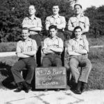 """Photograph No 15 Phot 2 Course. L_R  Back Row L to R  - Talbot Percy-Bell;  """"Jock"""" McCullough;  Frank Mitchell    Front Row L to R -  """"Jim"""" Hawkins;  """"Ruby"""" Gentry;  Harry Graham"""