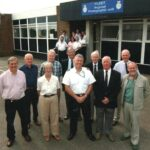 Photograph RNPA members visit FRPU  Back Row. Pete Bucknell, Mike  Keeling, Doug Manning, Bill Stenning.   Front. Rod Safe, Rose Stenning, Lt Stuart Antrobus, John Cunningham, Dave Morris