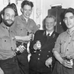 """Photograph Remarks/People  Involve.  Phot section staff Tyne, Submarine depot ship Left, Not  Known, Ian Johnson, """"Pricky"""" Hart, Probably Dennis Lowe"""