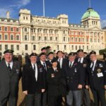 Photograph Marchers from the Remembrance day Parade on Horseguards after the March L-R Front Roger Forbes, Ted Tierney, Joan Roberts, Bob Stanyard, Danny du Feu Middle. Ian Hoper, Brian Jackson, Slinger Wood, Paul Wellings. Back Flo Foorde. Maurice Brailey (hiding)