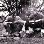 , Photograph Chow time for Roger Dorey, left, and Ray Pogson pictured on a weekend exped break near Fort Augustus.