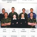 Photograph Course 1317 No 13 Back.   AEM  Moore R E, Army, Army,  AEM  Moore R E  Front.  Army, WWEM(O) Weaver L D   ,   ALWAE  Rose S L,  Army