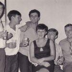 Photograph.Party in Singapore Sembawang Phots Tony  Darbyshire, Eric Thompson (HMS Blake) Vic Hunt, Hilary Mitchell, 'Mitch'  Mitchell, Stuart Wood