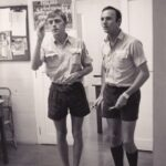 Photograph. 'Mitch'  Mitchell (left) and Dave Menaul    Ship/Place/Originator . FPU,  HM Dockyard, Singapore.
